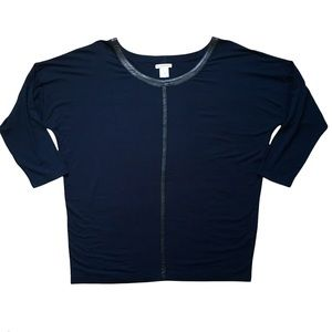 CLUB MONACO Navy with Pipping Dolman Sleeved Top Large